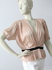 Chloe silk blouse pink pleated short sleeve top size M