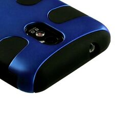 US Cellular Samsung Galaxy S II 2 Rubber Hybrid FISHBONE Silicone Case Blue Blk