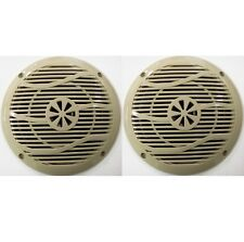 "NEW Pair 6"" Outdoor Marine Speakers RV Camper Trailer Boat Beige Tan 4 Ohm"
