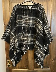 Ladies Orvis Black Grey Cape/Poncho One Size UK18/20/22 Great Condition