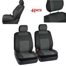 4PCs Universal Car Seat Covers Front Seat Back Head Rest Protector Black&Gray