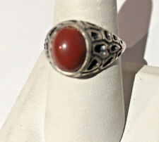STERLING SILVER CORAL RING SIZE 9.25