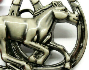 Double Horseshoe Running Horse Silver T Belt Buckle Western Cowboy Cowgirl Rodeo