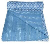 Handmade Vintage Kantha Quilt Indigo Print Quilt Blanket Bedspreads Throw Twin