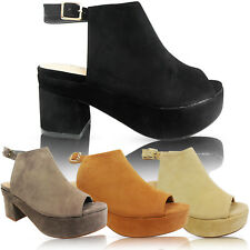 NEW LADIES LOW MID BLOCK HEEL CUT OUT PEEP TOE PLATFORM ANKLE BOOTS SHOES SIZE
