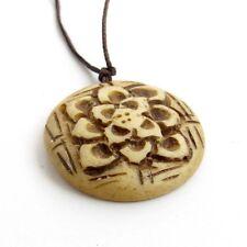 Tibet Buddhist Bone Lotus Amulet Pendant Talisman