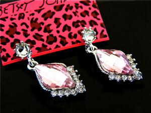 Pink Crystal Bohemian Style Retro Eardrop Dangle Betsey Johnson Earrings