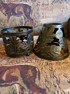 Metal Candle Holder With Shade OAK Leaves For Lg candle