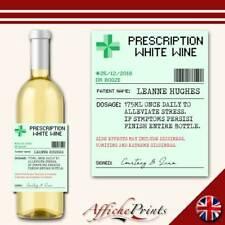 L128 Personalised Prescription Medicine White Wine Funny Custom Bottle Label
