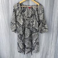 MONSOON Black Psychedelic Print SIZE 16 UK Half Sleeve Tunic Dress Top