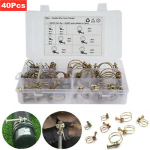 40Pcs 8 Sizes Car Double Wire Hose Clamps Pipe Clip Screw Bolt Tight Fitting Kit