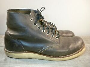 Red Wing Shoes Classic Work Round-Toe 8190 Lace-Up Leather Gray Men's Boots 8.5