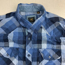 Lee Button Up Shirt Mens Large Blue Plaid Short Sleeve Casual