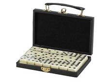 Dominoes Double 6 Six Standard Size Tile With Spinners Black Leatherette Case