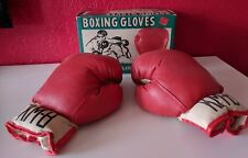 Vintage 1970s KM-8 Pair Boxing Gloves in Original Box - KMART - Red White