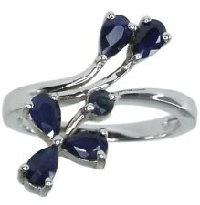 Diffusion Blue Sapphire Gemstone Wrap Sterling Silver Ring size N
