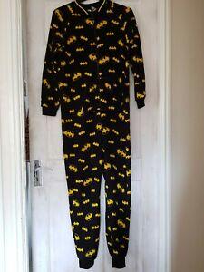 DC Batman Unisex One Piece Pyjama Fleece UK Size 10-12 (M) - GC. Fast Dispatch!