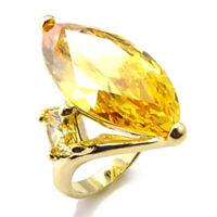 Bague luxe plaqué or 18k femme mode chic serti zirconium saphir citrine bijou