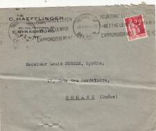 ENVELOPPE STRASBOURG C. HAEFFLINGER rue thomann contentieux timbrée 1935