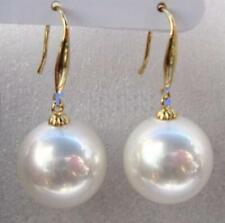 AAA 16mm Natural Australian South Sea White Shell Pearl Earrings 14K