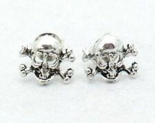 Ohrstecker Skull Totenkopf Bones Gothic 925 Sterling Silber Biker Rocker Neu