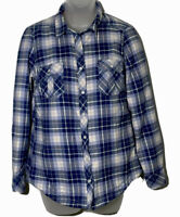 BC Clothing Womens Pearl Snap Shacket Flannel Shirt Small Blue and Pink Lined