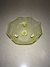 VINTAGE YELLOW DEPRESSION GLASS 3 FOOTED BOWL OCTAGON STAR CENTER Scalloped Edge