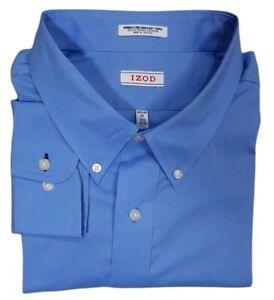 IZOD Mens Shirt Regular Fit 18.5 35/36 Tall Button Down Long Sleeve Oxford Blue