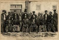 Japanese embassy visits D.C. group portrait 1860 Harper's woodcut print Brady