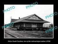 OLD HISTORIC PHOTO OF PELZER SOUTH CAROLINA, RAILROAD DEPOT STATION c1950s