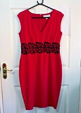 Red Pencil Wiggle Dress Paper Dolls Lace band Size 14