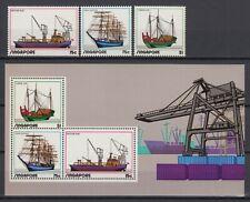 1972 SINGAPORE MNH SET + SOUVENIR SHEET, SCOTT #164-166a, BOATS, SHIPS