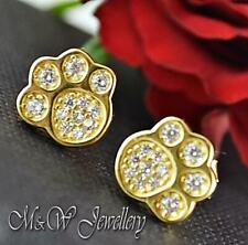 925 STERLING SILVER DOG/CAT PAW EARRINGS STUDS WITH ZIRCONIA - GOLD PLATED