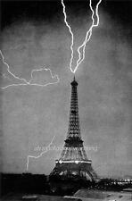 Photo. 1900s. Scary Lightning Strike - Eiffel Tower