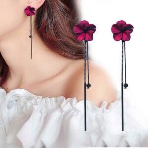 2021 Fashion Women Red Flower Tassel Long Earrings Drop Dangle Jewelry Gifts Hot