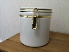 Large Heavy White Cream Ceramic Storage Jar Gold Kilner Style Clip Fixings VGC