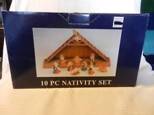 10 Piece Painted Resin Nativity Set With Creche #5990452 from 2004