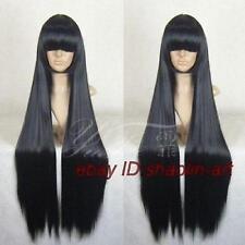 100cm,longs cheveux noirs perruque .cos perruque + gratuit hairne