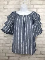Womens Laurie Felt LA Linen Blue Chambray Gathered Puff Sleeve Top Size Medium