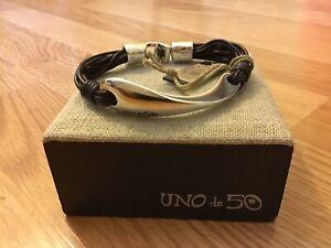 """NWT Uno de 50 Men's Leather/Silver-plated Bracelet """"Aura"""" 8.25"""""""