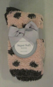 Charter Club Women's Super Soft Socks Pink with Gray Dots Fuzzy 9-11 NWT New