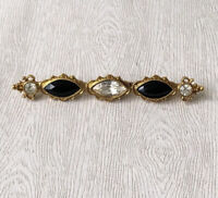 Vtg signed 1928  Victorian style brooch in gold tone metal