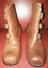 CYDWOQ Mu 3-Buckle Brown Textured Leather Ankle Boots, Hand-Made in USA Size 42