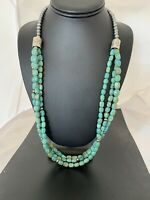 Native American 3S Royston Green Turquoise Sterling Silver Navajo Necklace 494