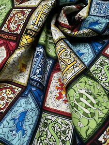 Fat Quarter HARRY POTTER Stained Glass Fabric COTTON Crafts Quilting Sewing