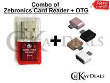 Combo Original Zebronics Branded Micro SD Card Reader + USB OTG Adapter Warranty