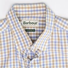 Barbour Mens Dress Shirt M 16.5/35 White Blue Beige Check Button Down Collar