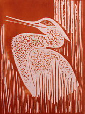 """Lester Hines """"Snow Heron"""" Hand Signed Trial Proof PINK Linocut Art Print 1976"""