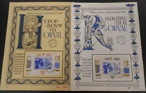 "1942 BELGIUM, 2 souvenir sheets ""ORVAL"" OBP sheet 19/20, used"