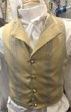 Regency Style Waistcoat In Yellow And Blue Brocade
